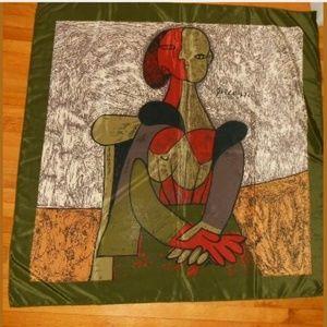 Picasso Olive Green Khaki Burgundy Silk Scarf